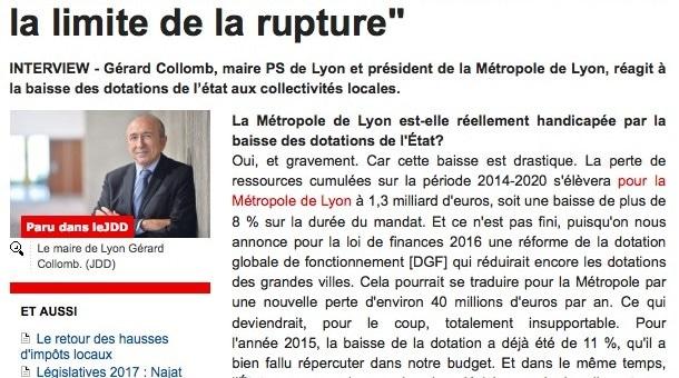 Pour Gérard Collomb, « les maires ne peuvent pas se dispenser d'une augmentation d'impôts »