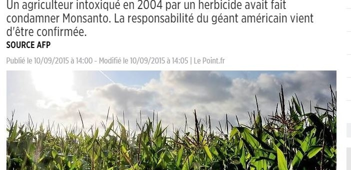 Agriculteur intoxiqué : le géant américain Monsanto condamné en appel