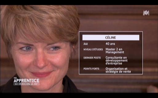 Céline, candidate éliminée lors de la première émission de The Apprentice / Capture d'écran