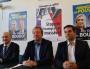"""Le chef de file du FN en Auvergne-Rhône-Alpes, Christophe Boudot entouré à droite de Maxime Chossat (tête de liste dans l'Ain) et à gauche de Michel Dulac (son """"porte-parole"""" pour les questions économique). ©LB/Rue89Lyon"""