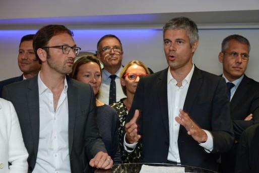 Laurent Wauquiez lors de la présentation de certains de ses colistiers. Crédits : Eric Soudan.