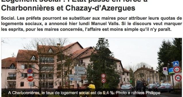 Sur la liste noire du Logement social, Charbonnières et Chazay-d'Azergues répondent à Manuel Valls