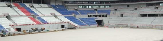 Le Grand Stade de l'OL en construction en octobre 2015. © BE pour Rue89Lyon