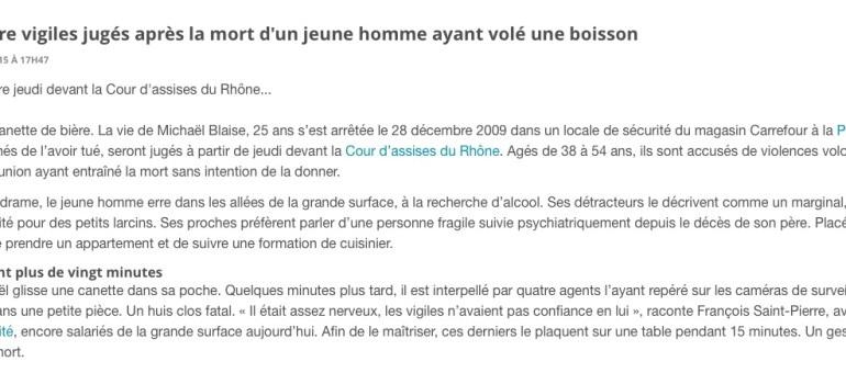 A Lyon, quatre vigiles de Carrefour jugés après la mort d'un jeune qui avait volé une cannette