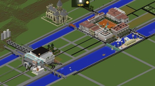 La place Bellecour et la gare de Perrache sur Minecraft. Capture d'écran