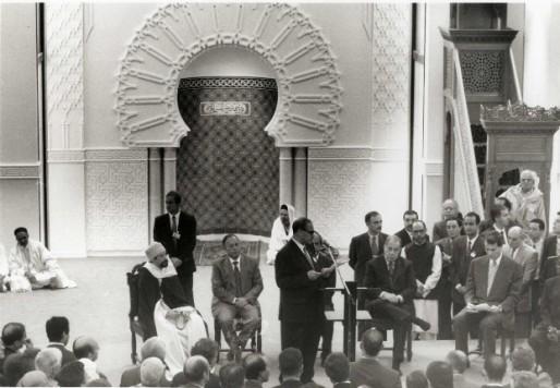 Inauguration de la Grande Mosquée de Lyon, située à Bron, en septembre 1994, par Charles Pasqua, alors ministre des cultes et Michel Noir, alors maire de Lyon.