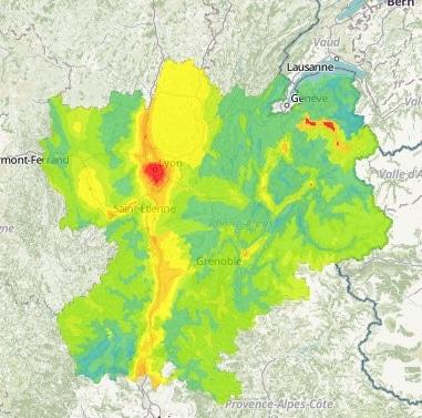 Pic de pollution aux particules fines à Lyon et dans la vallée de l'Arve. Capture d'écran Air Rhône-Alpes