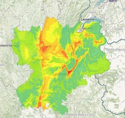 Pollution prévue pour ce lundi 7 décembre 2015. Capture d'écran Air Rhône-Alpes