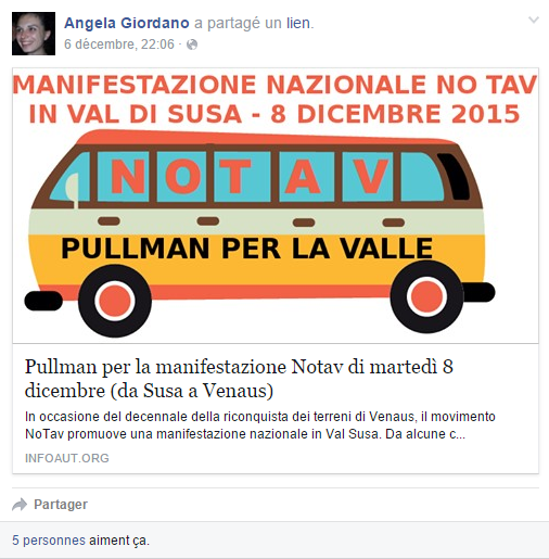 Autobus pour la manifestation No Tav de mardi 8 décembre (de Suse à Venaus)