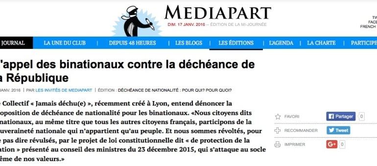 De Lyon, l'appel des binationaux contre la déchéance de la nationalité
