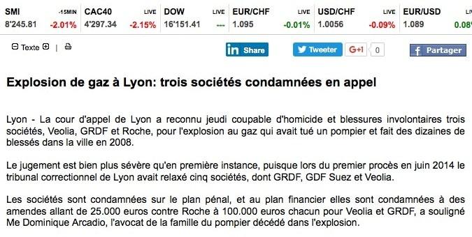 Explosion du cours Lafayette à Lyon : trois sociétés condamnées en appel