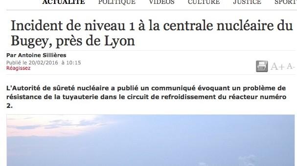 Nouvel incident à la centrale nucléaire du Bugey