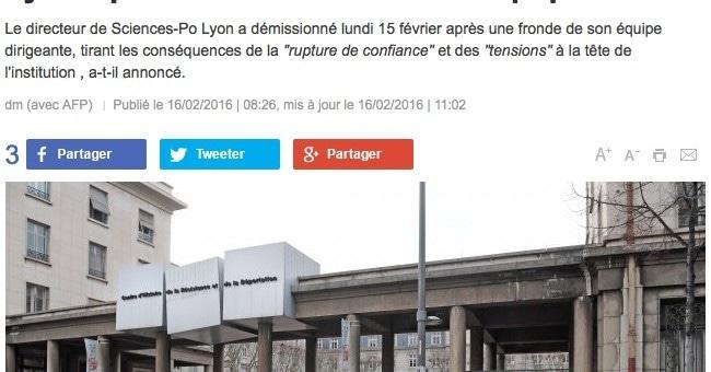Démission du directeur de Sciences-Po Lyon après celle du comité de direction