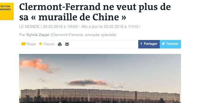 Renouvellement urbain : 550 familles vont devoir quitter «la muraille de Chine» de Clermont-Ferrand