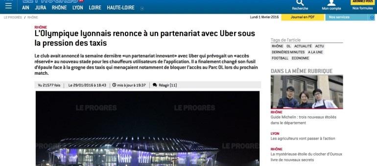 Les taxis font voler en éclat le partenariat entre l'OL et Uber