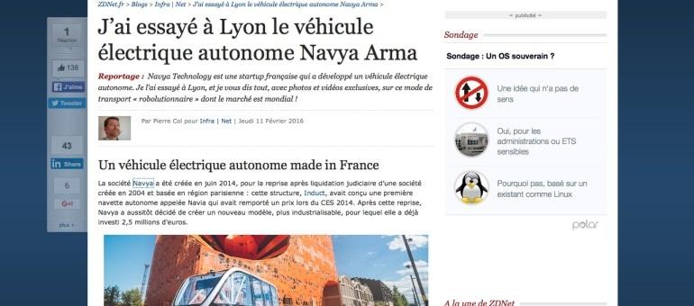 La Navya Arma, le véhicule sans chauffeur testé en public à Lyon