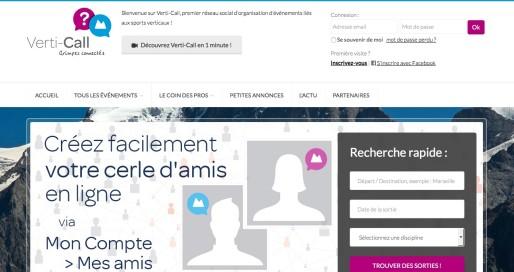 Le site Verti-Call, plateforme dédiée aux pratiquants des sports de grimpe et verticaux. Capture d'écran