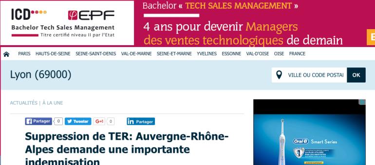 21 TER supprimés en Auvergne-Rhône-Alpes : la Région demande une indemnisation à la SNCF