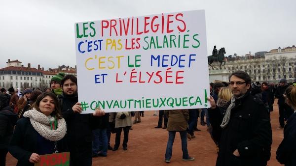 Blanche Leconte et Mark Gadi, deux des initiateurs du premier appel à manifester ce 9 mars. ©LB/Rue89Lyon