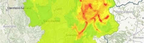 pic de pollution au 23 mars. Capture d'écran Air Rhône-Alpes