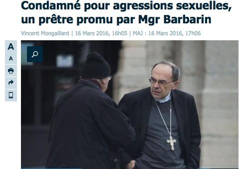 Condamné pour agressions sexuelles, un curé «promu» par le cardinal Barbarin à Lyon