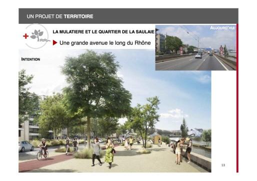 Perspective du boulevard urbain une fois la portion de l'A7 déclassée. Document Métropole de Lyon