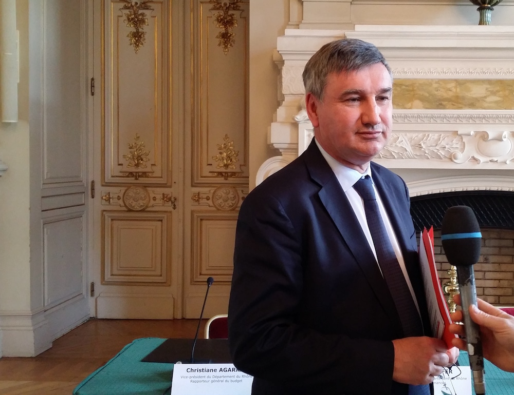 Christophe Guilloteau, le 25 avril, lors de la conférence de presse sur la sortie des emprunts toxiques. ©LB/Rue89Lyon