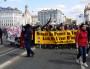 La tête de la manif contre la loi travail le 9 avril, sur le pont de la Guillotière. ©LB/Rue89Lyon