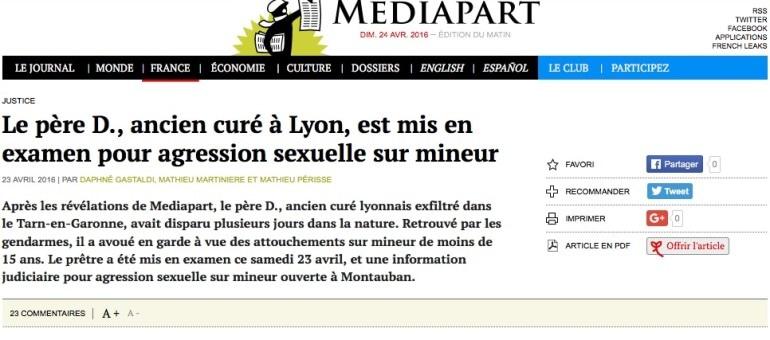 L'ex-curé « exfiltré » par le diocèse de Lyon mis en examen pour pédophilie