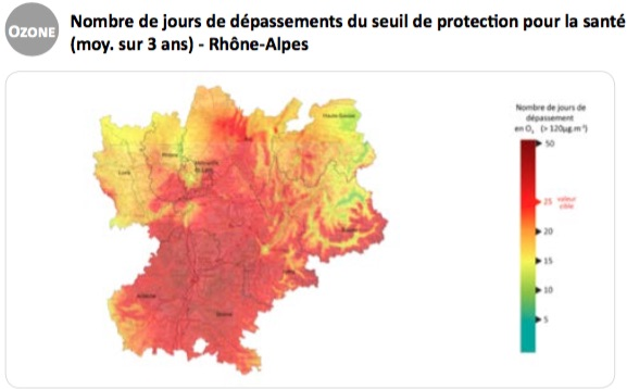 Capture d'écran Air Rhône-Alpes - la pollution à l'ozone en 2015