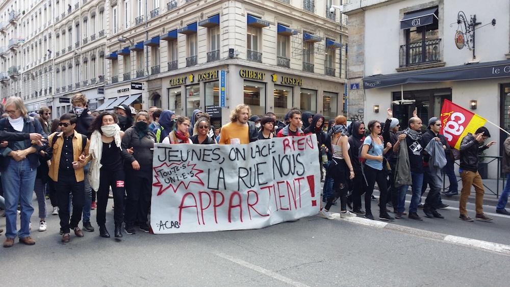 La tête de la manifestation contre la loi travail du 17 mai à Lyon. ©LB/Rue89Lyon