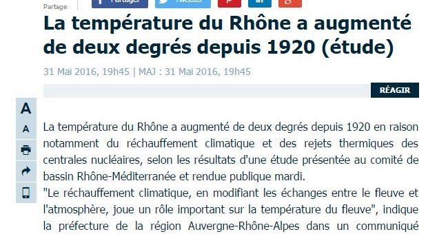 En un siècle la température du fleuve Rhône a augmenté de deux degrés