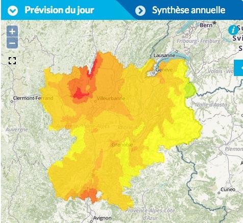 Pollution à l'ozone pour Rhône-Alpes ce vendredi 26 août. Capture d'écran Air Rhône-Alpes.