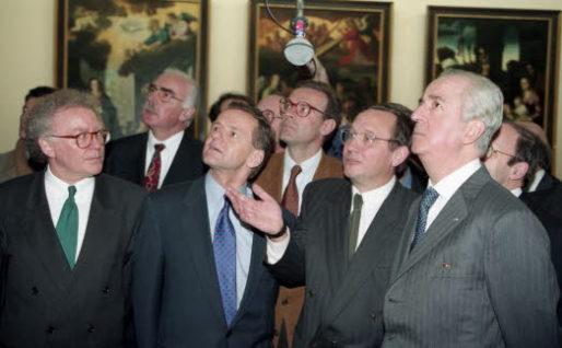 Alain Carignon et Edouard Balladur, lors de l'inauguration du musée de Grenoble en janvier 1994. Crédit : LR38