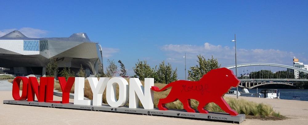 La statue Only Lyon à la Confluence, devant le musée, photographiée en septembre 2016. ©LB/Rue89Lyon