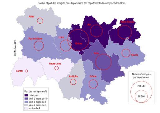 Les immigrés sont plus présents dans les départements urbanisés ou frontaliers. © INSEE Rhône-Alpes