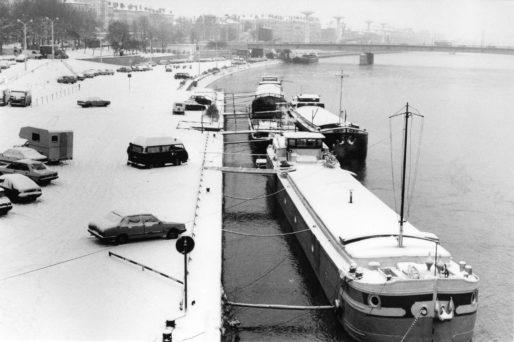 Le quai Victor-Augagneur sous la neige. Photo CC, Marcos Quinones, 13 janvier 1987, collections BML