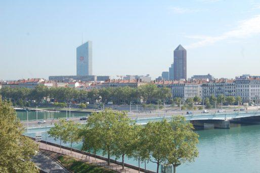 La tour Incity et le Crayon (Tour Crédit Lyonnais) et vue du pont de la Guillotière. © BE/Rue89Lyon