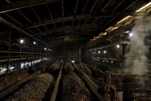 Le compost en train de fermenter. Dans cette partie de l'usine, l'odeur est assez nauséabonde. © Aude David / Rue89Lyon