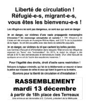 Extrait de l'appel au rassemblement du collectif de soutien aux réfugiés et aux migrants Lyon-69.