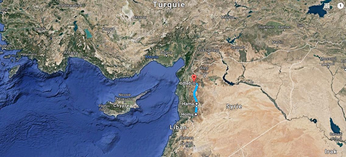 """Les quatre villes de la """"deuxième étape du voyage"""" des convois humanitaires de Free Syria Lyon. ©GoogleMaps"""
