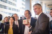 Laurent Wauquiez, Juliette Jarry,vice-présidence de la région en charge du numérique et Xavier Niel au Digital Summit le 30 janvier 2017 à Lyon. ©Léo Germain/Rue89Lyon