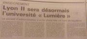 L'article du Progrès du 31 mai 1986, consacré au nouveau nom de l'université Lyon II. ©Rue89Lyon
