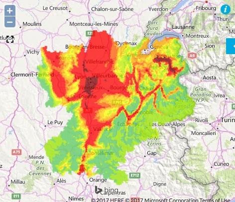 Prévision de pollution pour le samedi 21 janvier en Rhône-Alpes. Capture d'écran ATMO Auvergne-Rhône-Alpes