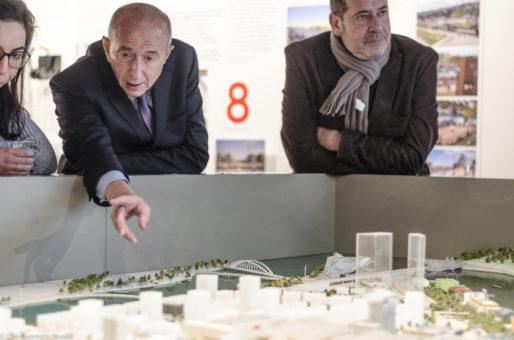 Gérard Collomb à la Maison du Projet de la Confluence le 26/01/17 ©Léo Germain/Rue89Lyon