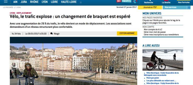 Dans la Métropole de Lyon, le trafic vélo a augmenté de 26% en 2016