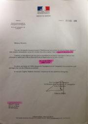 """Une des lettres remises pour se présenter au """"centre de préparation au retour"""", à Gerland."""