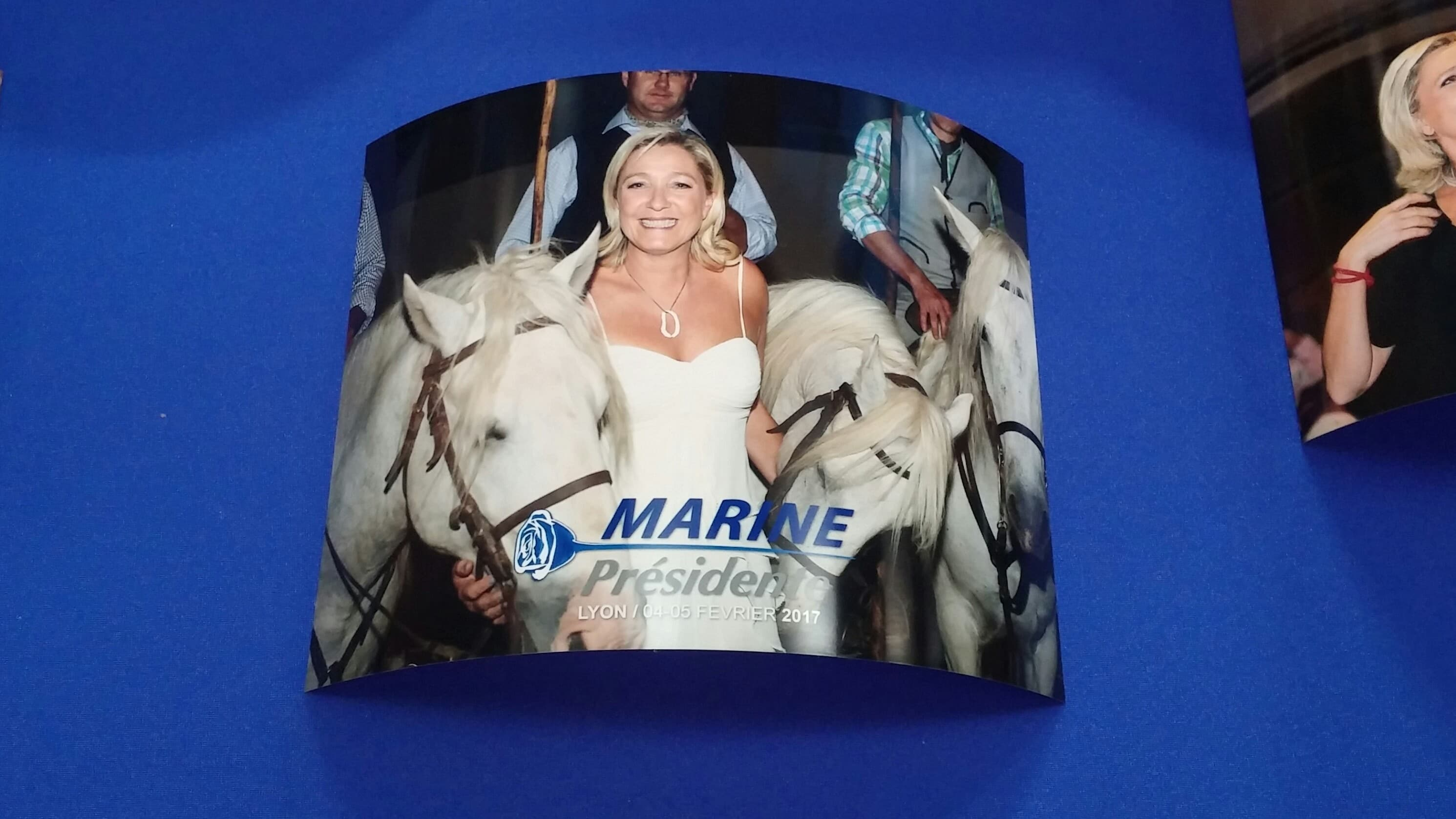 Une photoUne photo de Marine Le Pen en vente lors des Assises présidentielles du FN à Lyon le 4 février 2017. Photo BE/Rue89Lyon en vente lors des Assises présidentielles du FN à Lyon le 4 février 2017. Photo BE/Rue89Lyon
