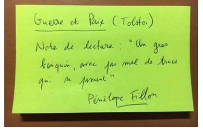Capture d'écran du concours de fiches de lecture «comme Penelope Fillon» lancé sur Facebook. - IMPROBABLES LIBRAIRIES