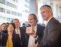 Laurent Wauquiez, Juliette Jarry, vice-présidence de la région en charge du numérique et Xavier Niel, patron de FREE au Digital Summit le 30 janvier 2017 à Lyon. ©Léo Germain/Rue89Lyon